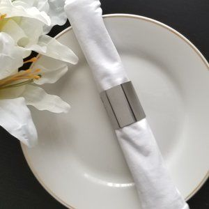 8 Alessi Stainless Steel Napkin Rings Holders